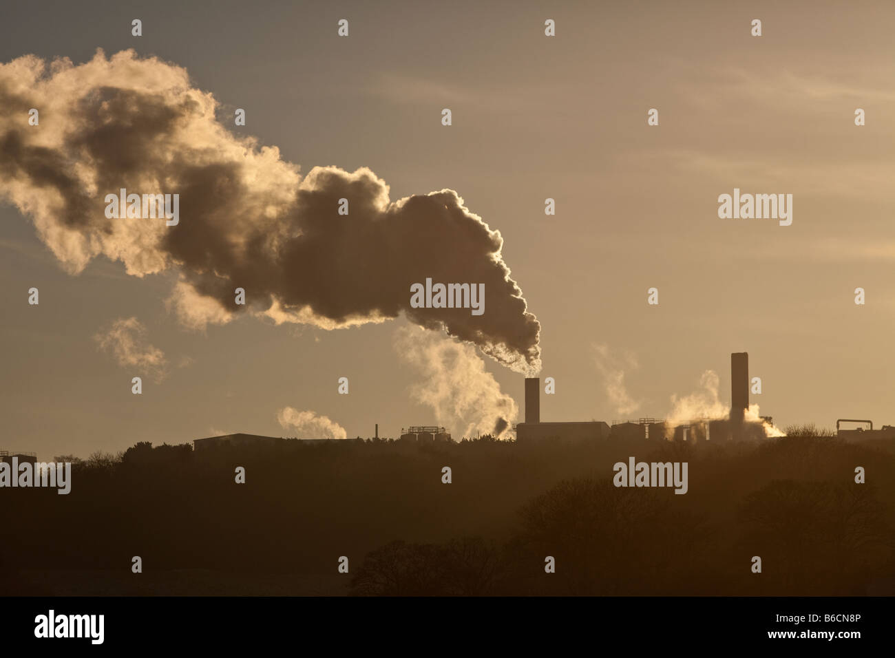 Heavy industry belching out steam near the Staffordshire village of Cheddleton England UK - Stock Image