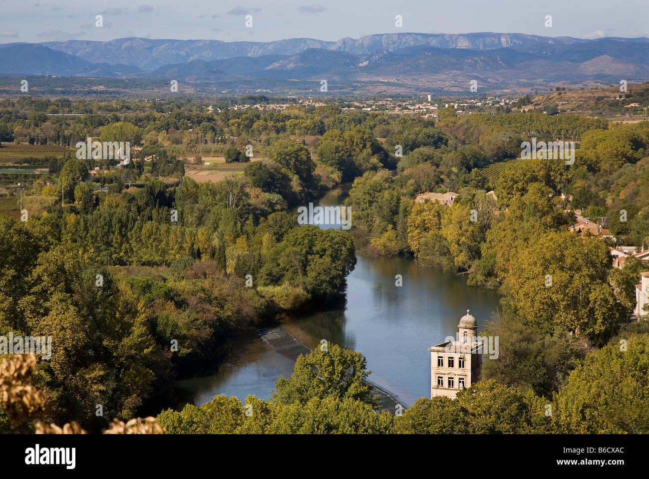 The tower of the Cordier MIll on the River Orb from St Nazaire Cathedral, Bezier, Languedoc-Roussillon, France - Stock Image