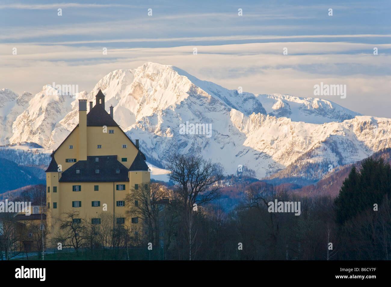 Palace surrounded by trees, Schloss Goldenstein, Elsbethen, Flachgau, Hoher Goell, Berchtesgaden Alps, Salzburg, Stock Photo