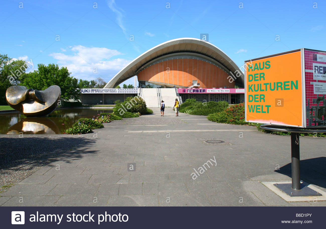 Signboard in front of museum, House Of World Cultures, Berlin, Germany - Stock Image