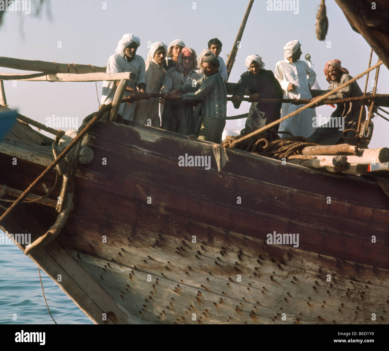 United Arab Emirates Dubai Dhow in Creek 1969 - Stock Image