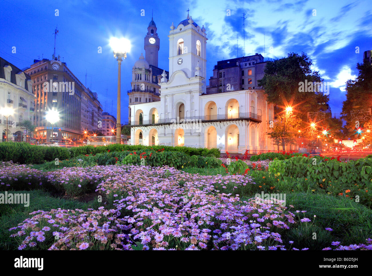 """National Cabildo building at """"Plaza de Mayo"""" (Mayo Square) in the dusk, Buenos Aires, Argentina - Stock Image"""