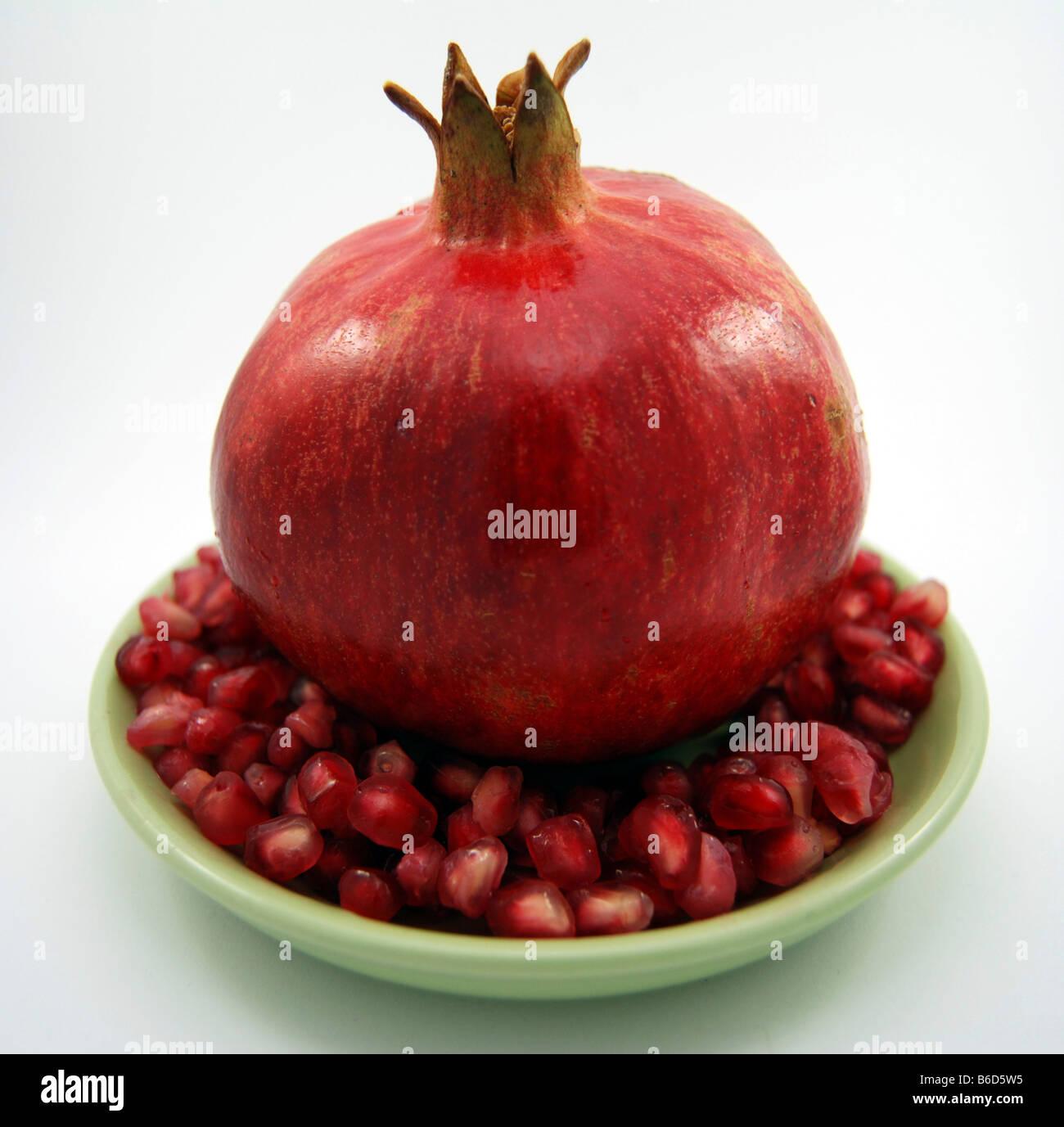 Rosh Hashanah Symbolic Food Pomegranate - Stock Image