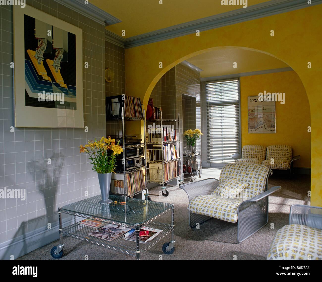 Eighties Style Living Room Interior - Stock Image