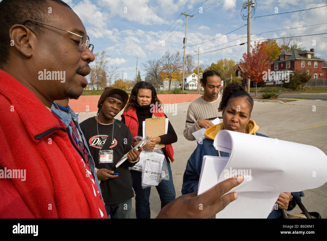 Organizers Prepare to Canvass Neighborhood Before Election - Stock Image