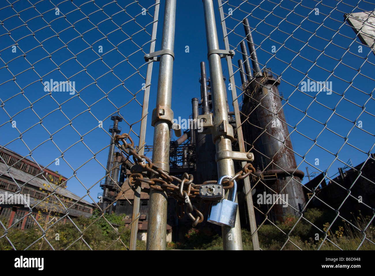 PADLOCKED ENTRANCE GATE CLOSED BETHLEHEM STEEL COMPANY MILL WORKS ...