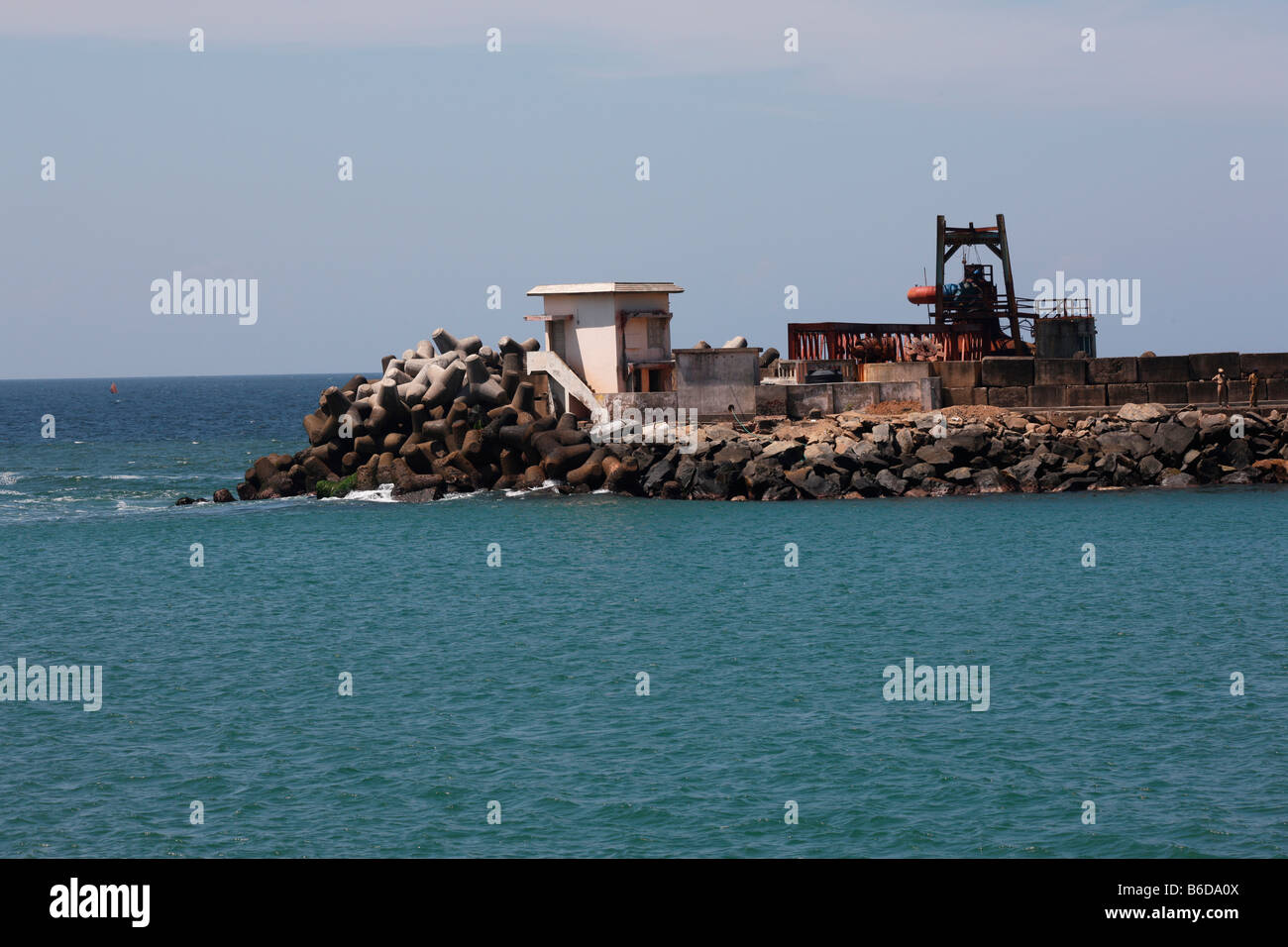 Wave energy station in Vizhinjam ,Kerala,India - Stock Image