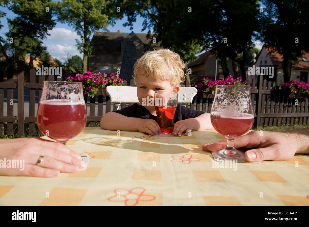 Bjarne in the beer garden in the pub Gasthof Mocho - Stock Image