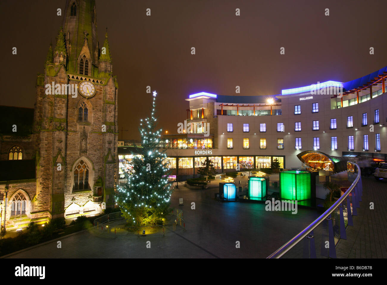 Bullring shopping centre england, st martins square and church, night time lit up, christmas decorations, tree, - Stock Image