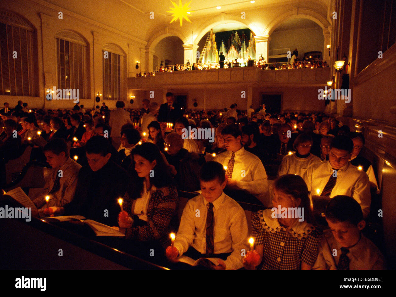 Christmas in Bethlehem, Pennsylvania, Christmas Eve vigils, Central Moravian church. - Stock Image