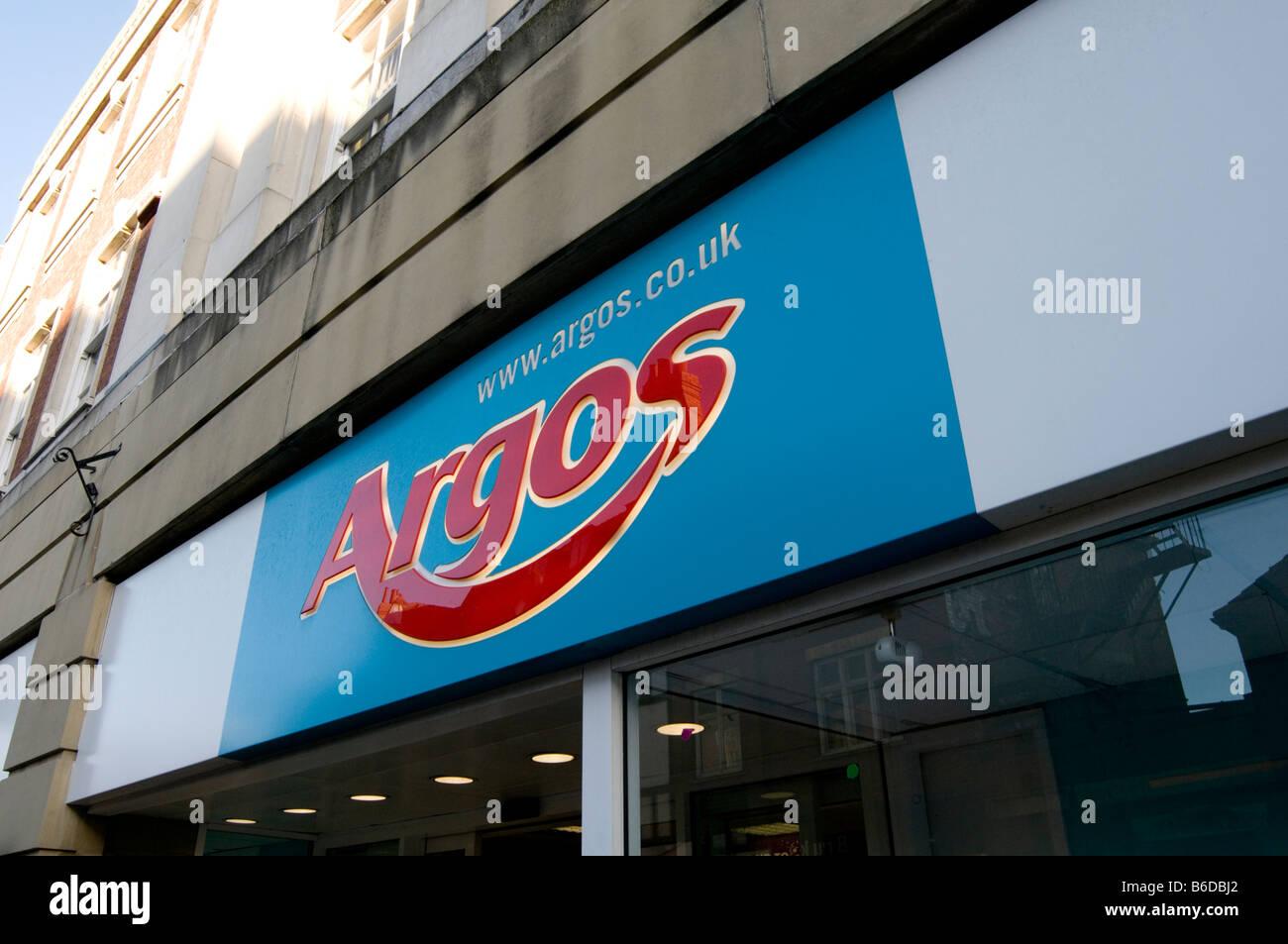 argos catalogue retailer shop retailing high street highstreet retail shopping brand logo branding - Stock Image