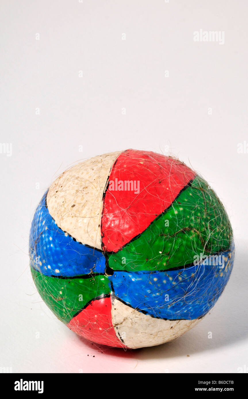 dogs old chewed ball hairy colours round loved play fun chase run  fit  exsert exercise energy balls bounce tired Stock Photo