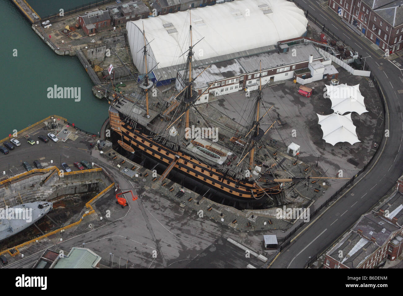 Aerial photograph of HMS Victory in dry dock at Portsmouth ...