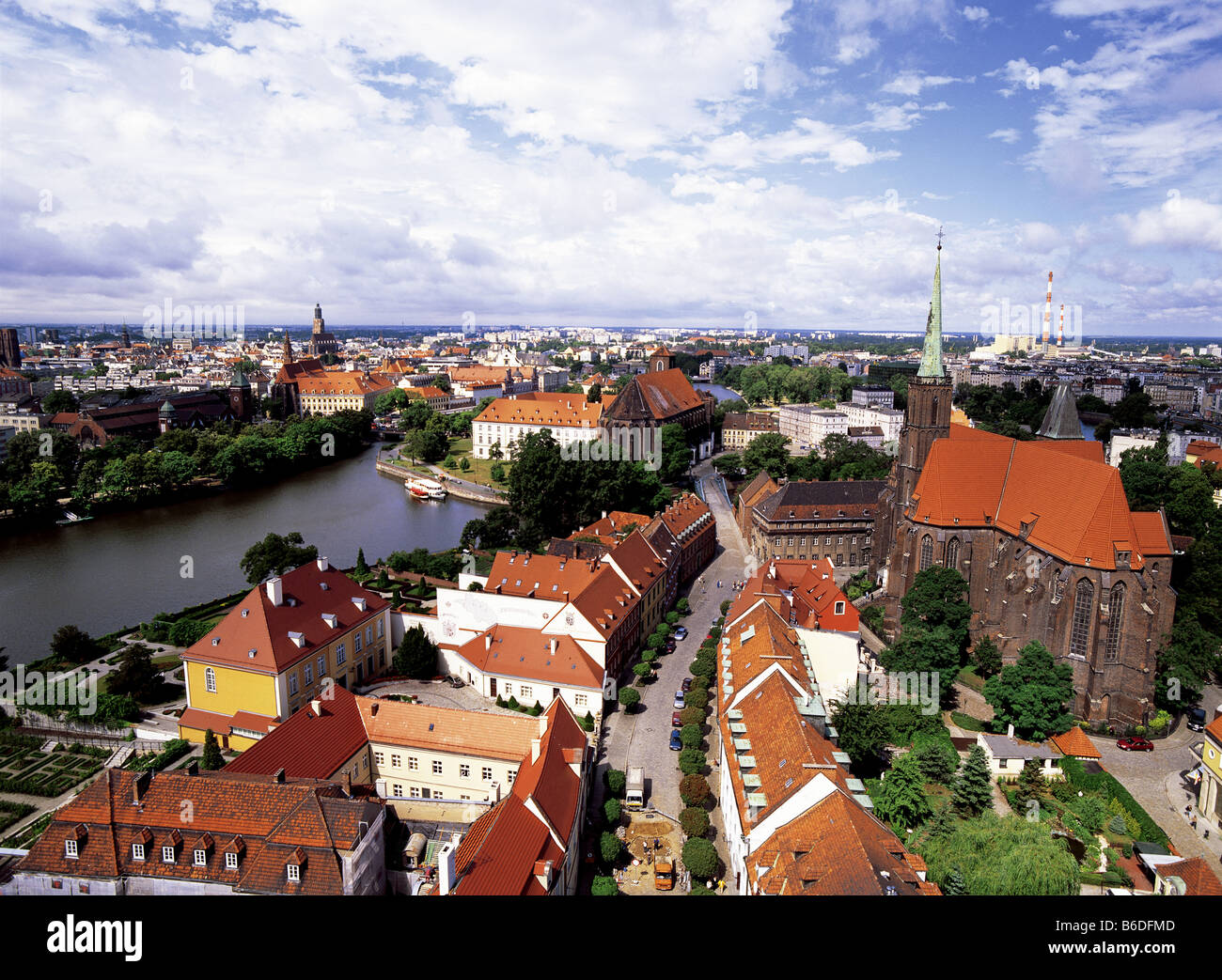 View of River Oder and city skyline of Wroclaw, Poland from Cathedral spire - Stock Image
