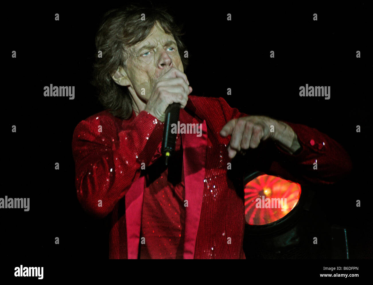 Mick Jagger,old looking  on stage - Stock Image