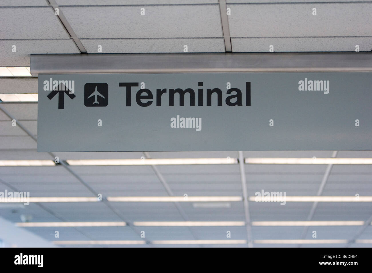 Sign to the terminal at Manchester Airport in Manchester New Hampshire October 4 2008 - Stock Image