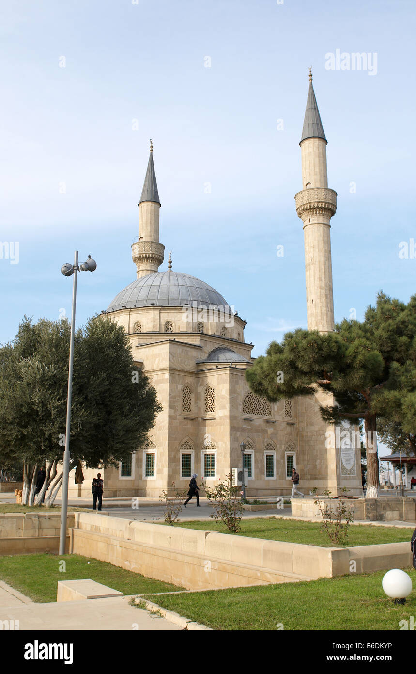 Mosque with two minarets in Baku Azerbaijan - Stock Image
