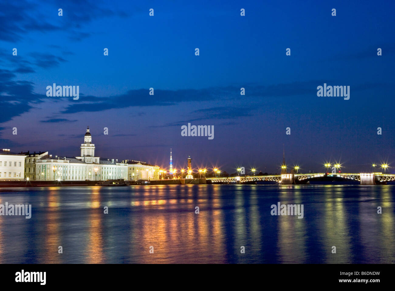Russia, Saint Petersburg, View on the university at the border of the Neva river. Stock Photo