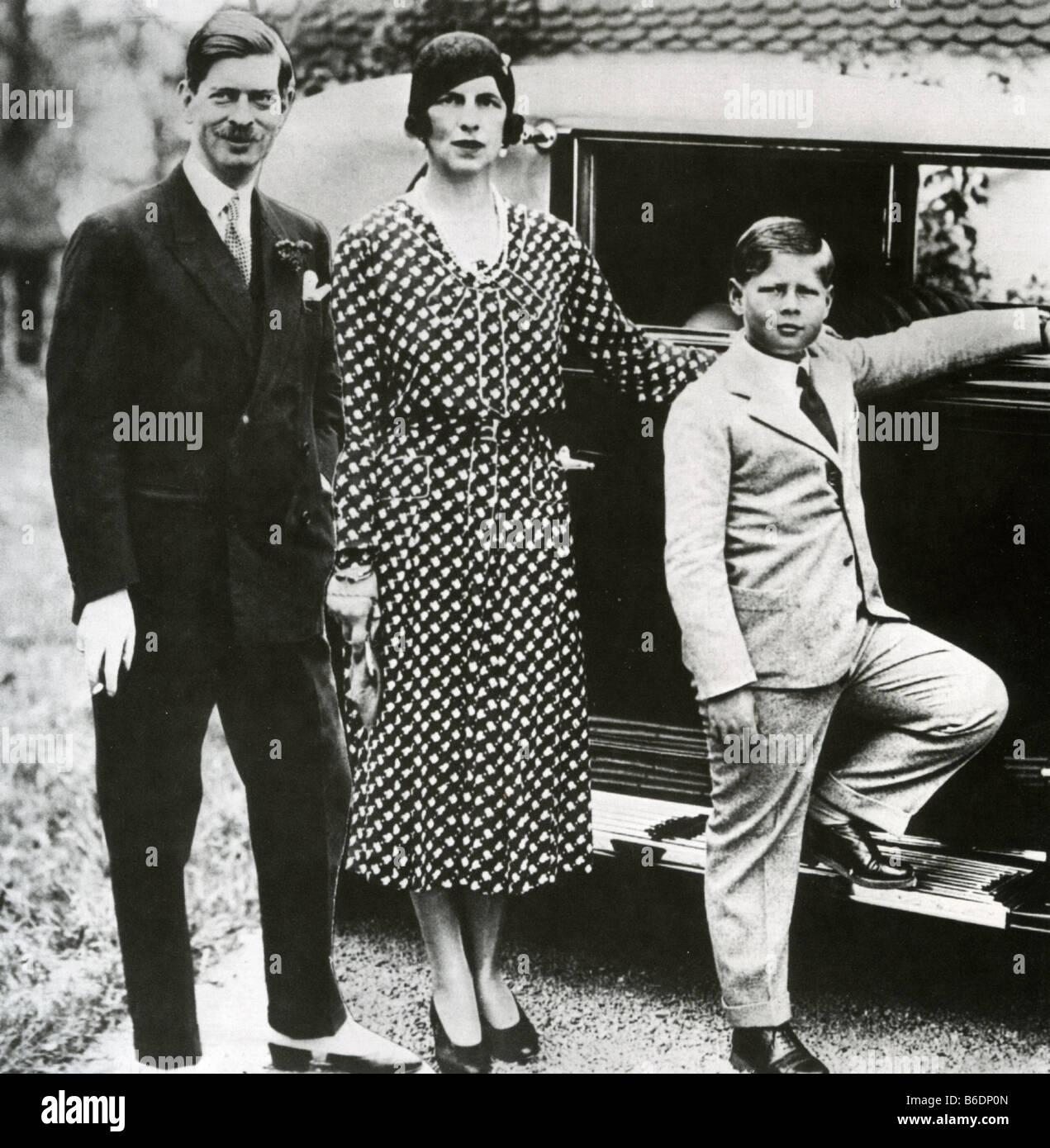 KING CAROL II OF ROMANIA with his second wife Princess Helen of Greece and their son Michael - Stock Image
