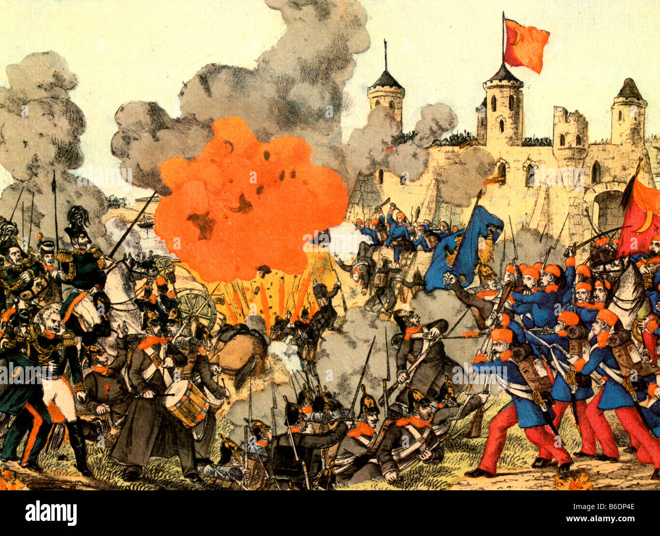 BATTLE OF SILISTRA in 1878 between Russia and Turkey during their 1877-78 war - Stock Image
