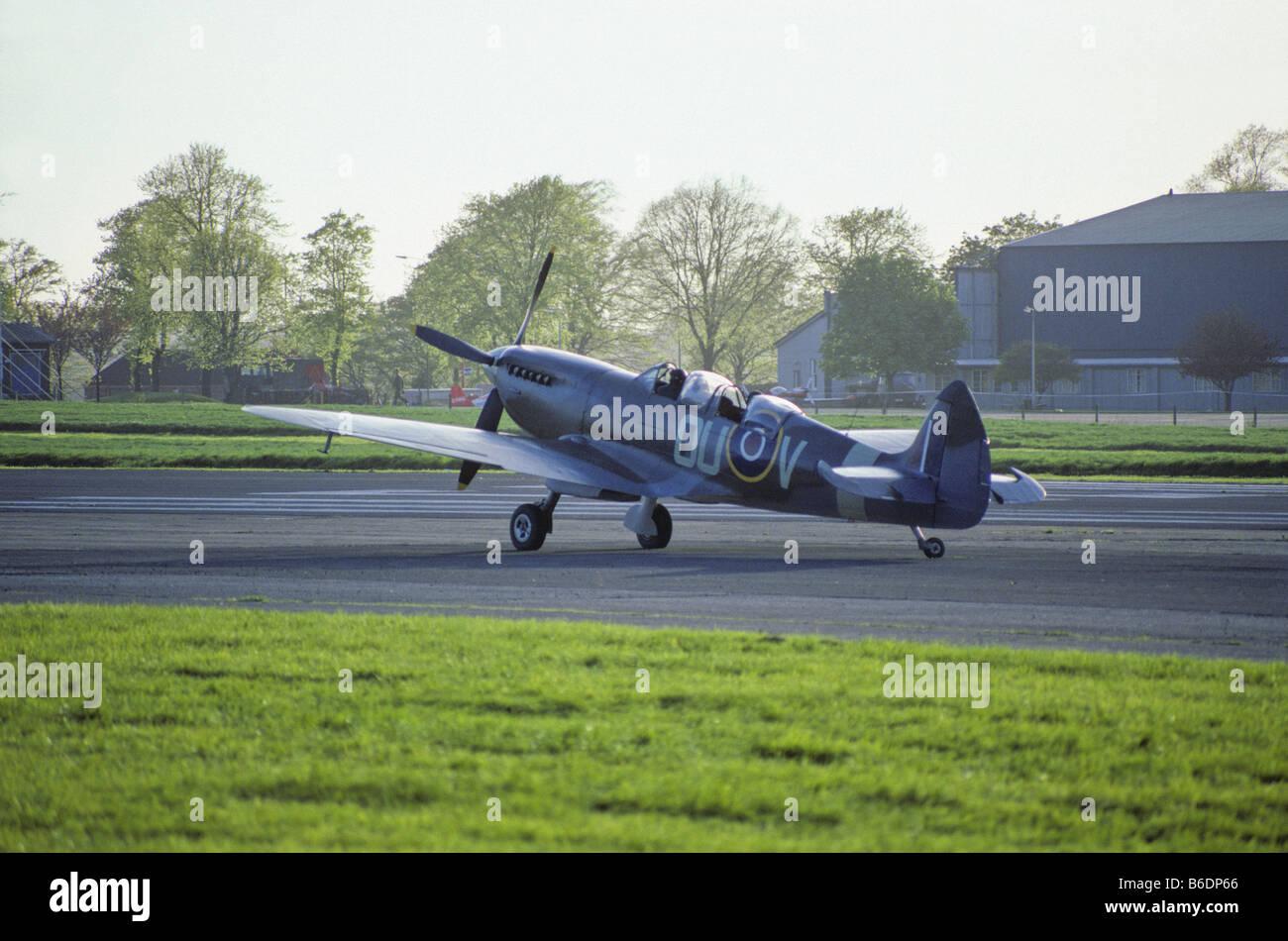 Super Marine Spitfire Tr 9 at Biggin Hill Airfield - Stock Image