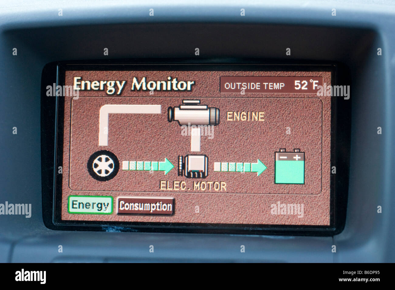 The Energy Monitor of a Toyota Prius October 4 2008 - Stock Image