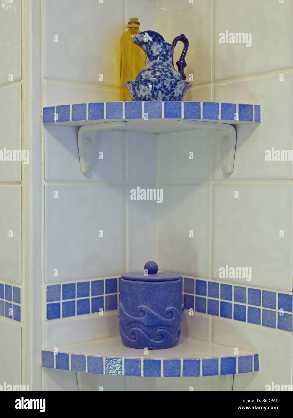 Bathroom Shelves Ceramic Tiles Stock Photo 21201232 Alamy