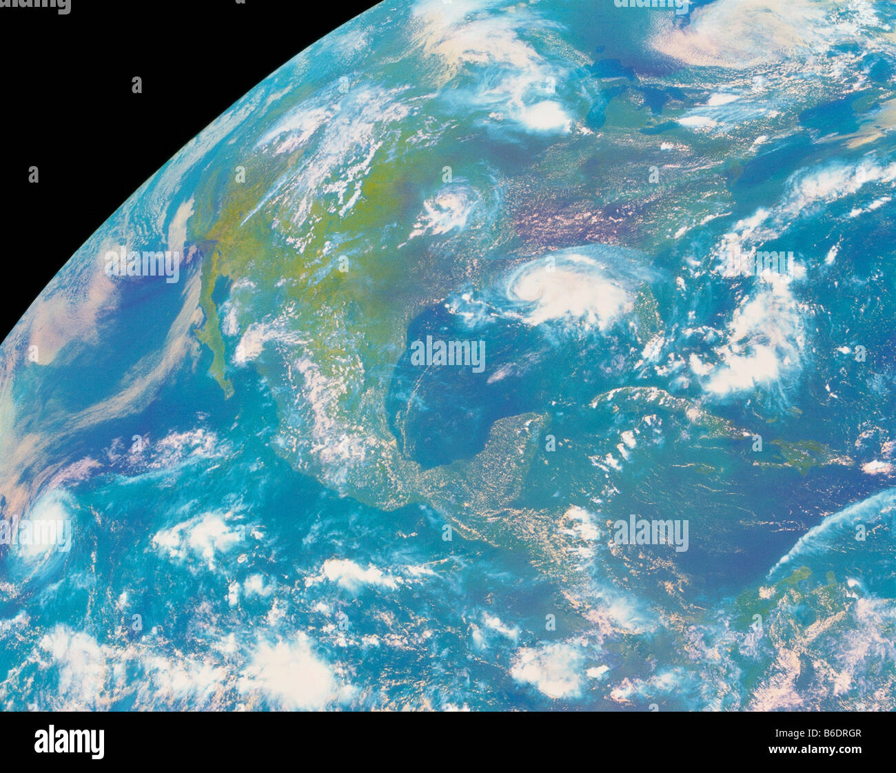 Americas. GOES satellite image of the Americas. North is towards the top right. - Stock Image