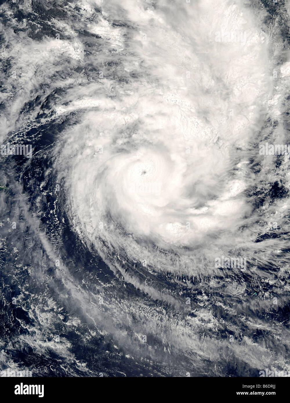 Tropical cyclone Percy. Aqua satellite image of tropical cyclone Percy in the South Pacific Ocean. - Stock Image