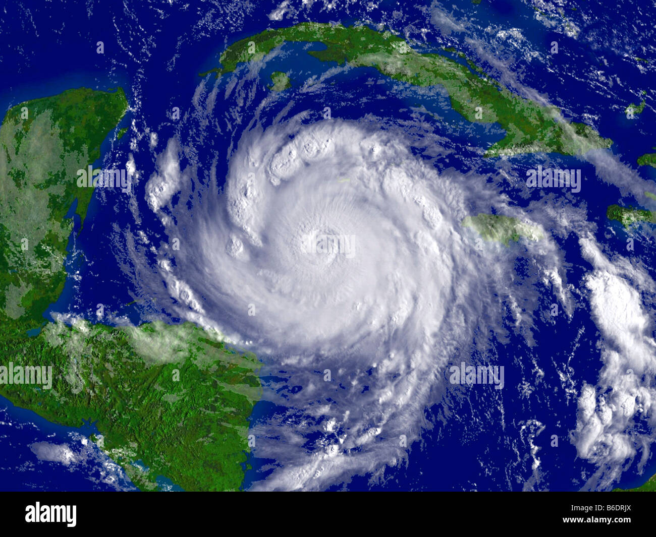 Hurricane Dean, satellite image. North is at top. Image obtained at 04:55 local time on 20 August2007. - Stock Image