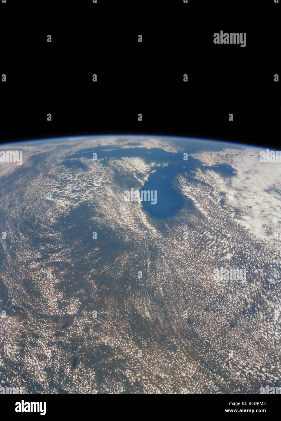 Great Lakes on the USA/Canada border, seen from space. The Great Lakes cover an area of almost 250,000 square kilometres. - Stock Image