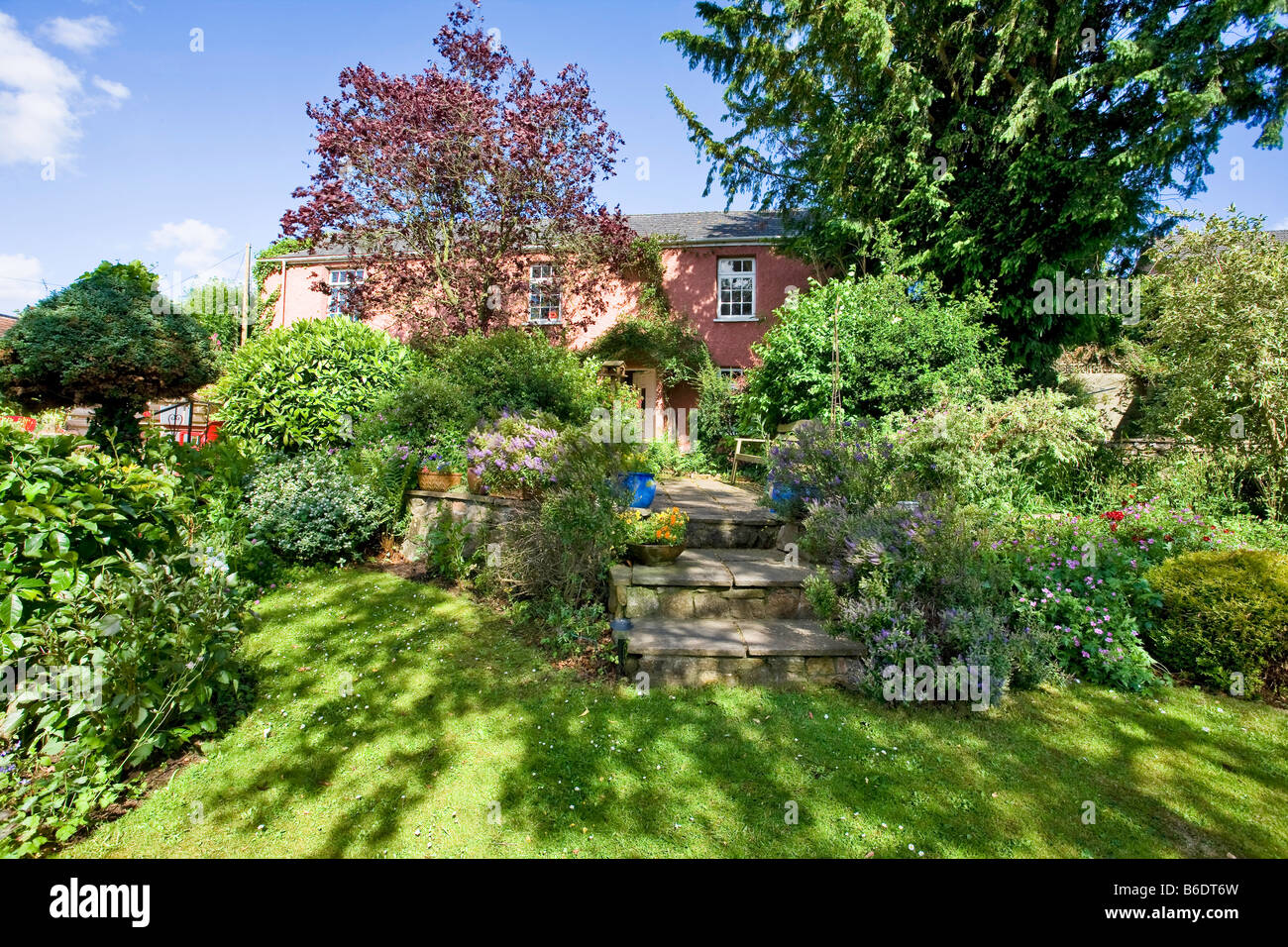 PINK COUNTRY COTTAGE STONE WALL STEPS AND COTTAGE GARDEN UK - Stock Image