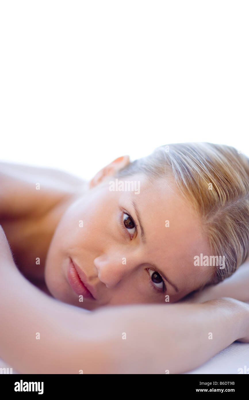 Depressed woman. She is 26 years old. - Stock Image