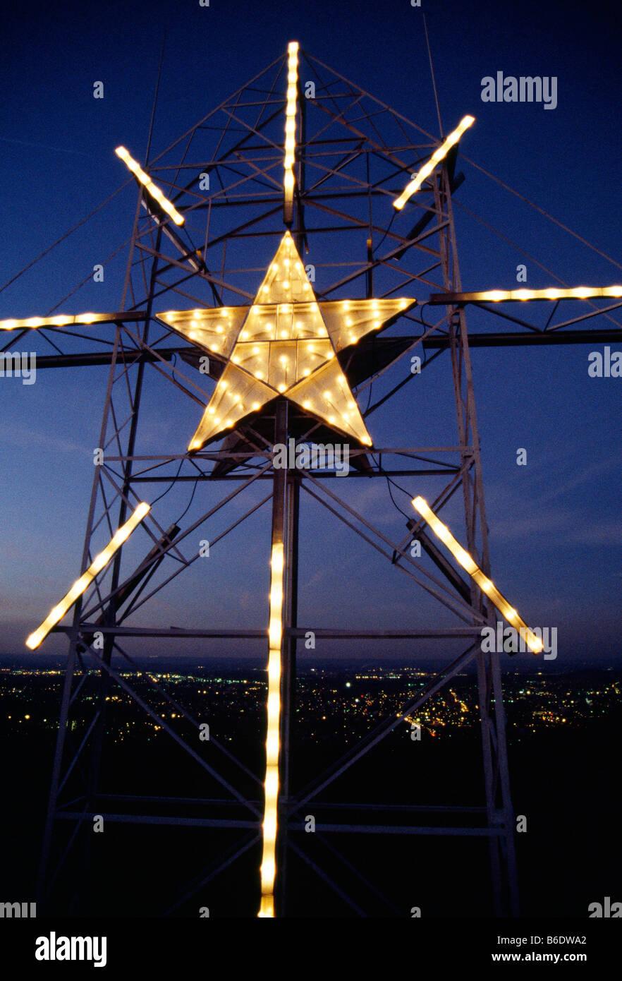 Star Of Bethlehem Light Outdoor Christmas season in bethlehem pennsylvania dusk view of the star christmas season in bethlehem pennsylvania dusk view of the star of bethlehem on south mountain workwithnaturefo