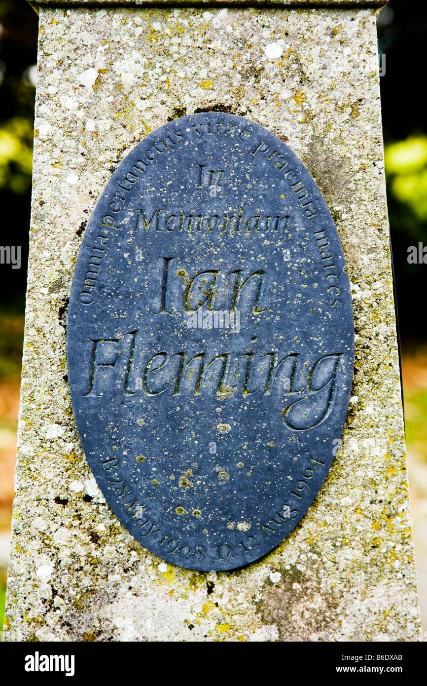 Cloes-up of memorial plaque on Ian Fleming's grave in Sevenhampton, Wiltshire, England, UK - Stock Image