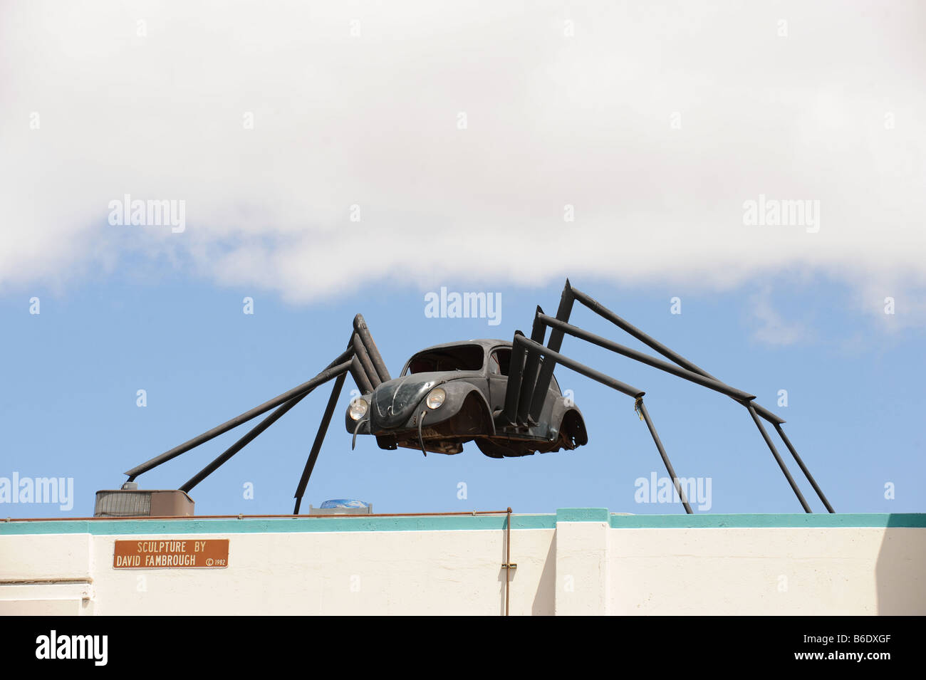 VW beetle spider sculpture in rheno nevada - Stock Image