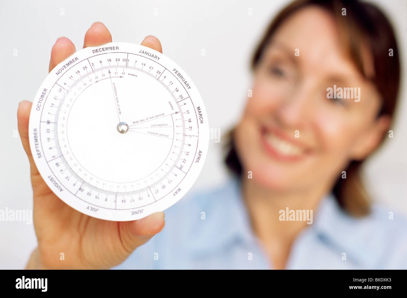 Gestation calculator. This is a device for accurately determining the expected date of delivery for pregnant women. - Stock Image