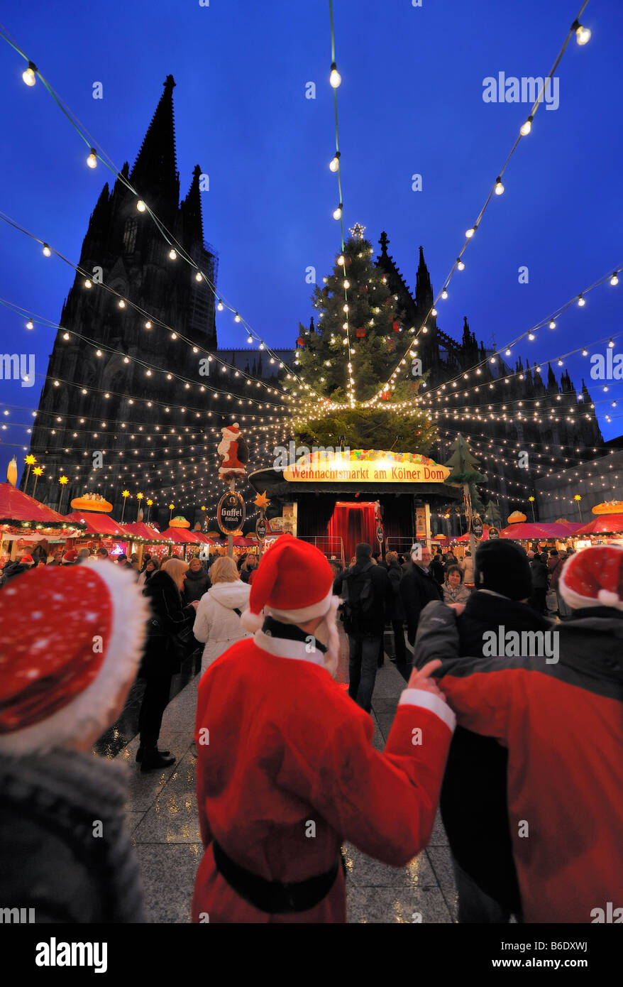Christmas Market (Weihnachtsmarkt) by the Dom, Cologne Stock Photo