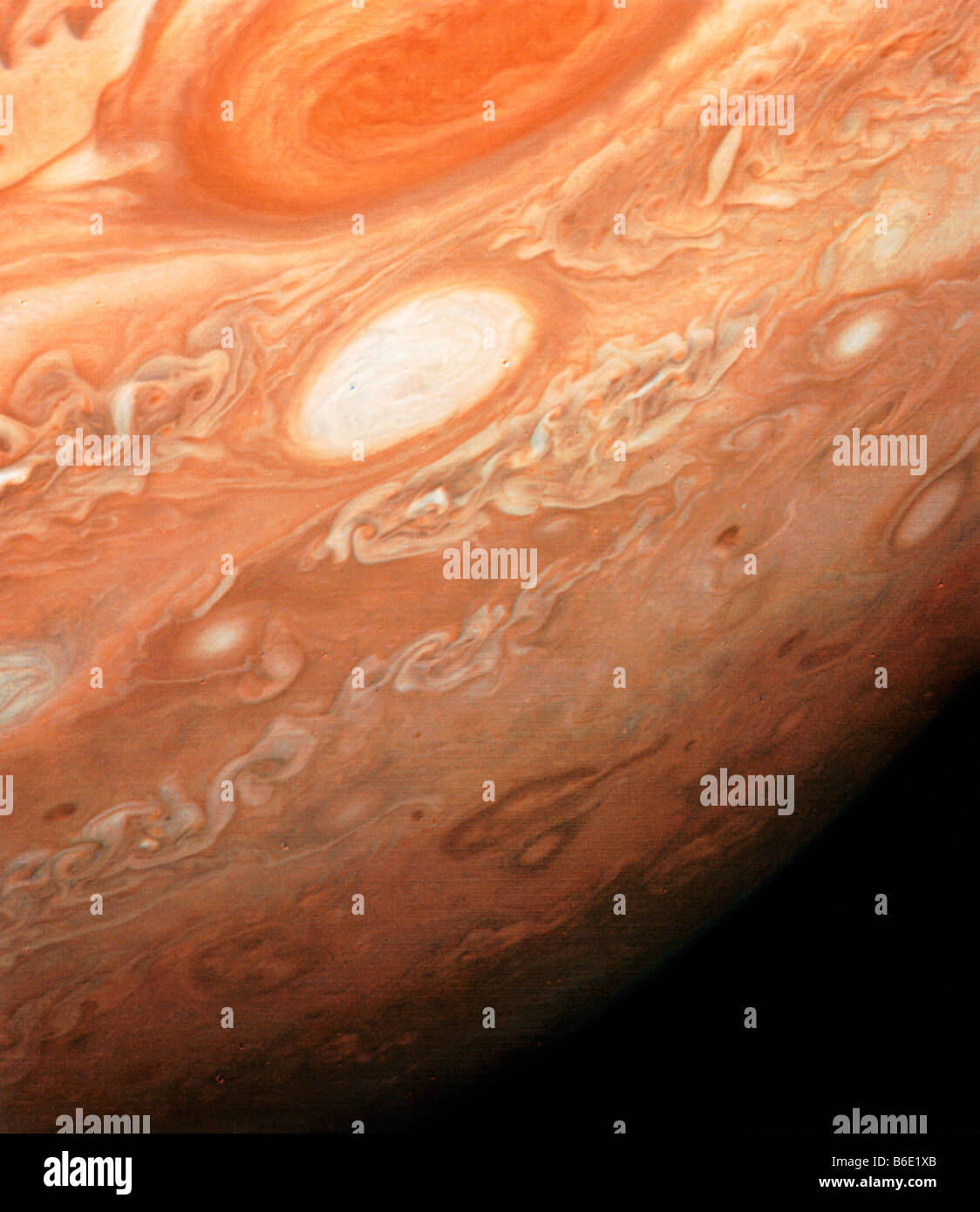 Photo of Jupiter, southern hemisphere from Great Red Spot to the south pole showing white oval cloud - Stock Image