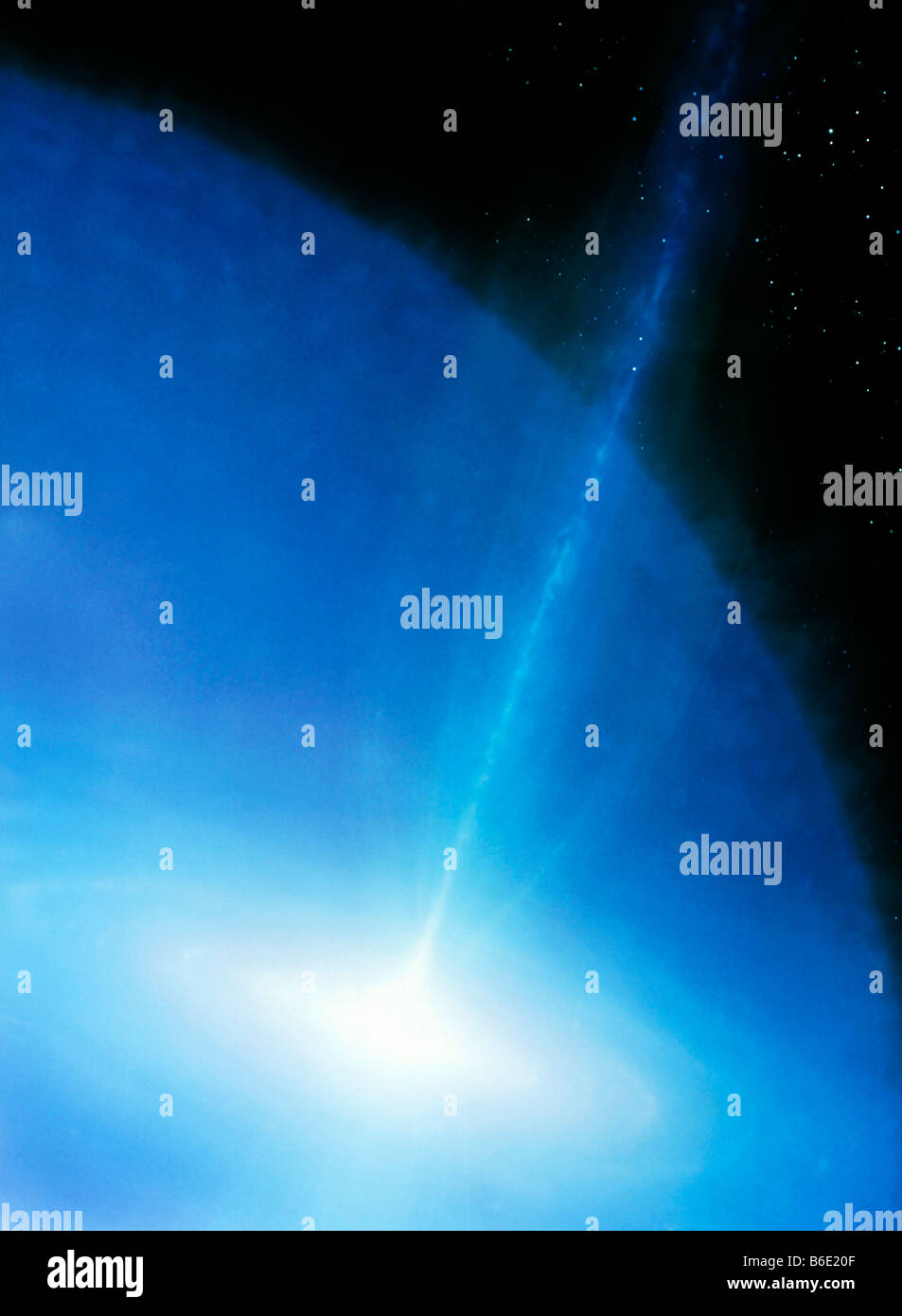 A microquasar is a small black hole orbiting a larger star. Illustration Stock Photo