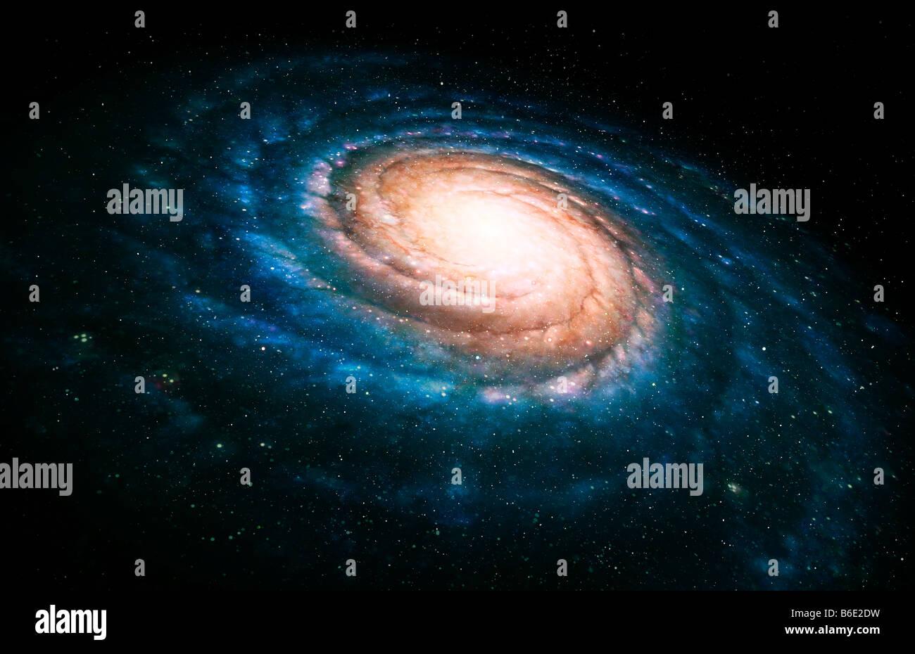 Spiral galaxy. Artwork of a spiral galaxy seen atan oblique angle. The spiral arms (blue) containhot, young stars. Stock Photo