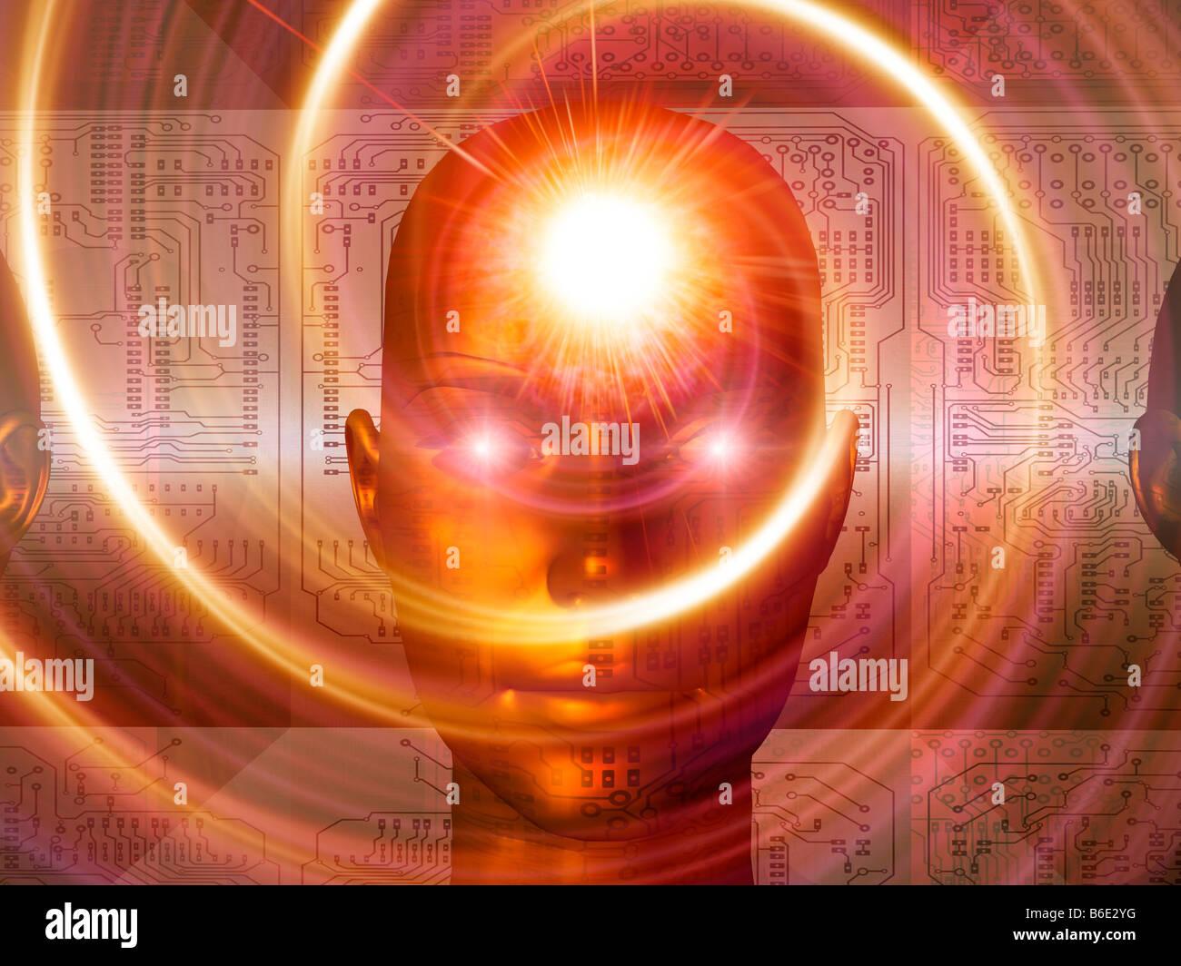 Artificial intelligence, conceptual computer artwork Stock Photo