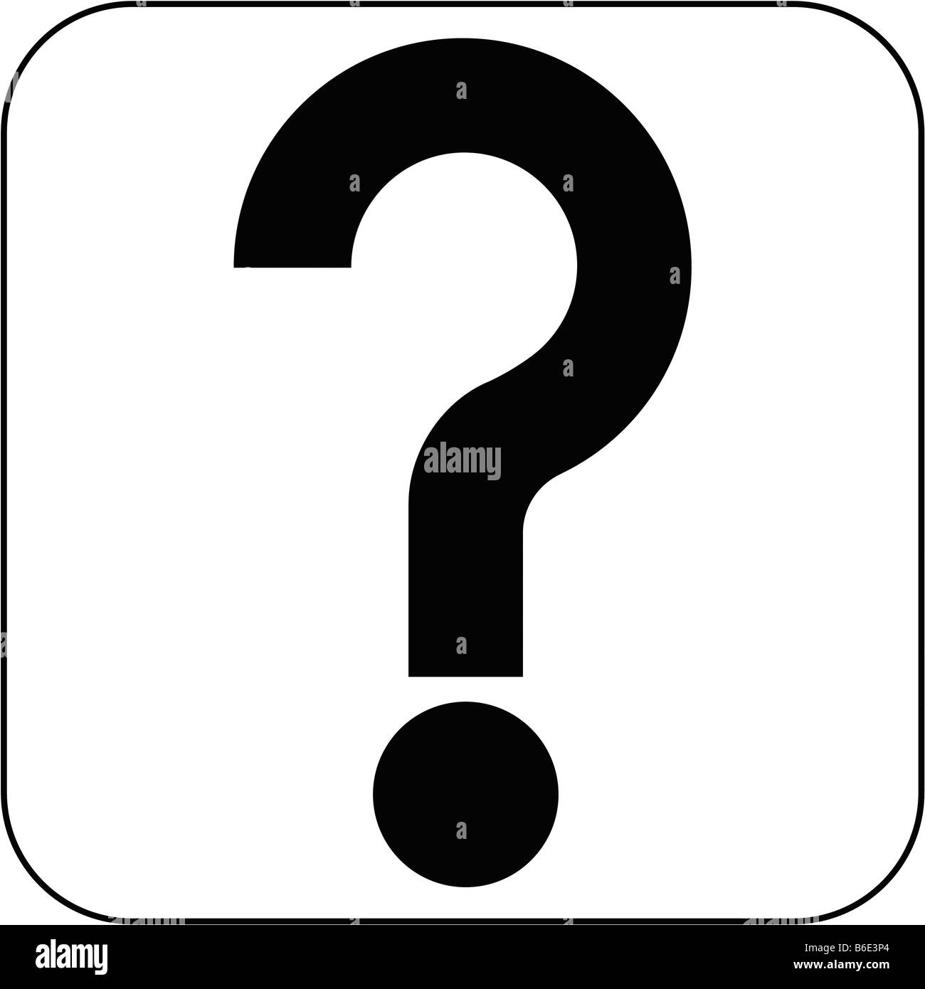 Question mark sign against white background - Stock Image