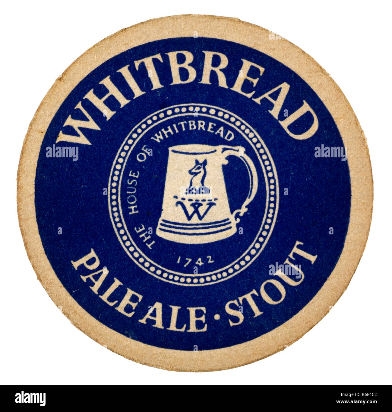 whitbread pale ale stout 1742 beermat coaster rest glasses beer beverages Public houses United Kingdom tables protect - Stock Image