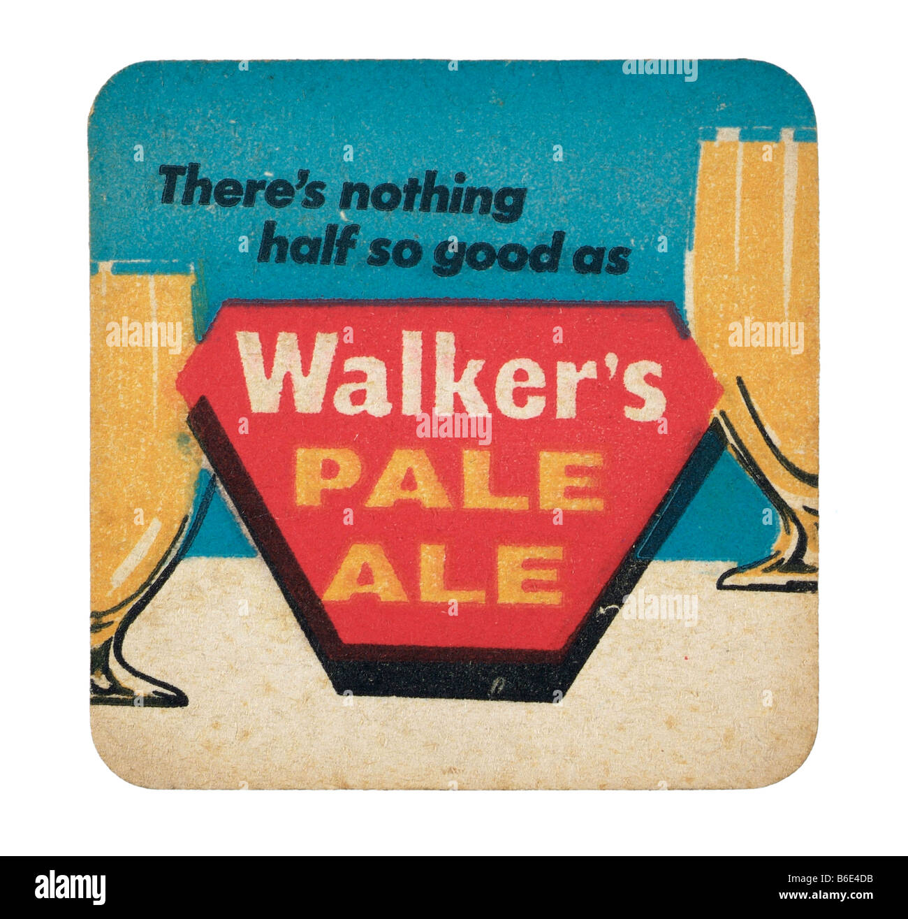theres nothing half as good as walkers pale ale beermat coaster  rest glasses beer beverages Public houses United - Stock Image