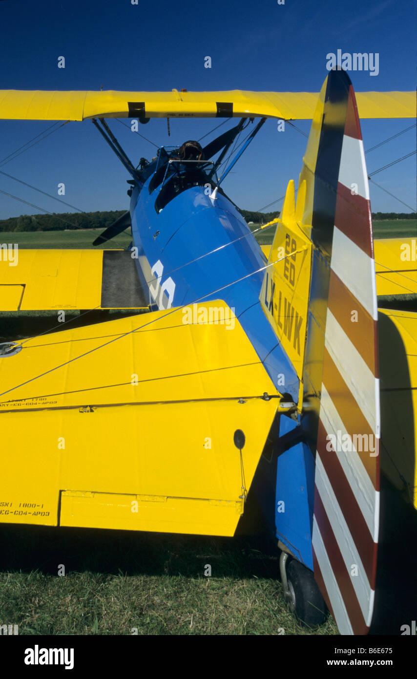 Old american trainer biplane Boeing PT-17 Kaydet / Stearman model 75