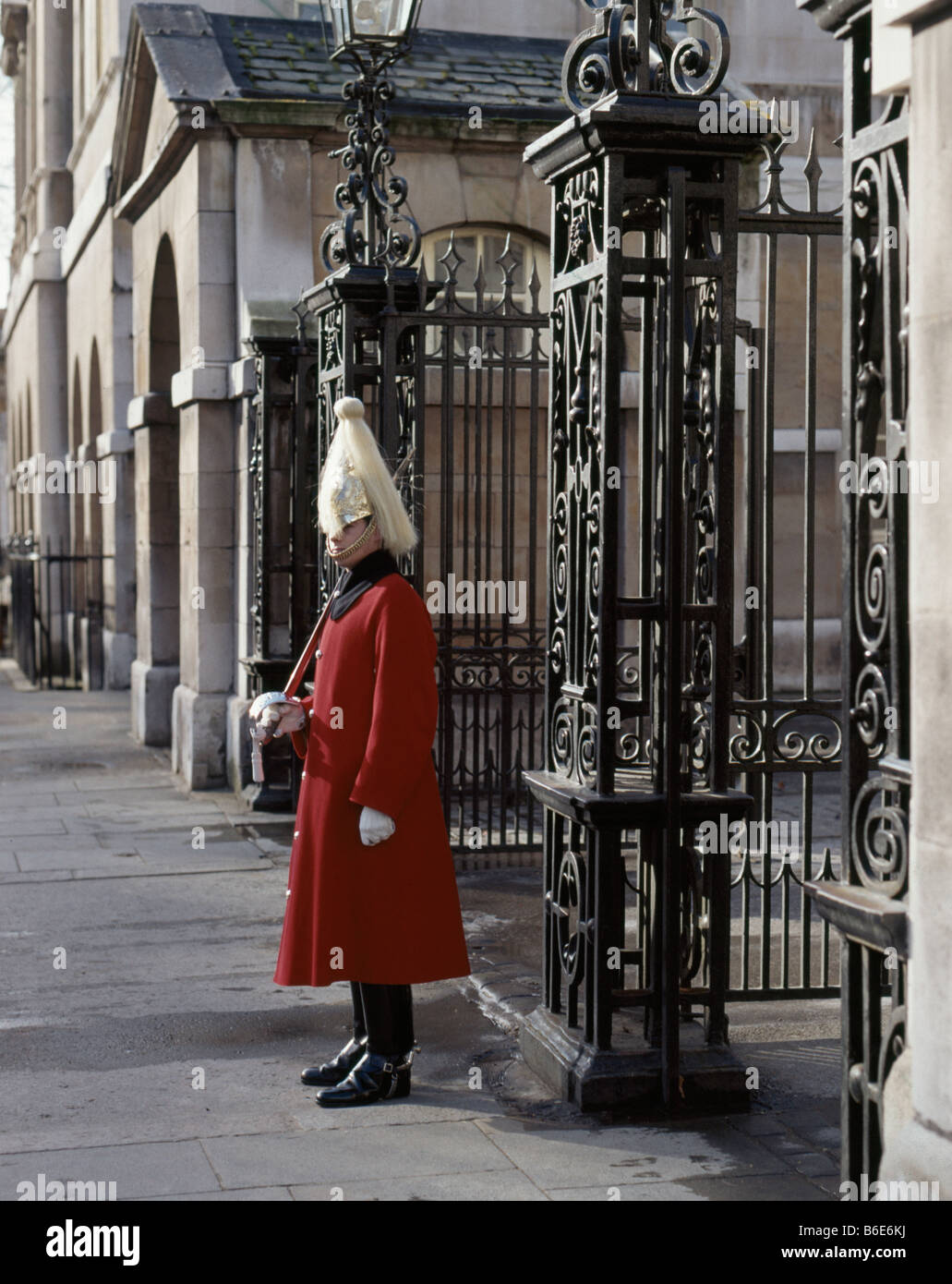 Life Guard of the Household Cavalry standing guard at  Horse Guards, Whitehall, London England. - Stock Image