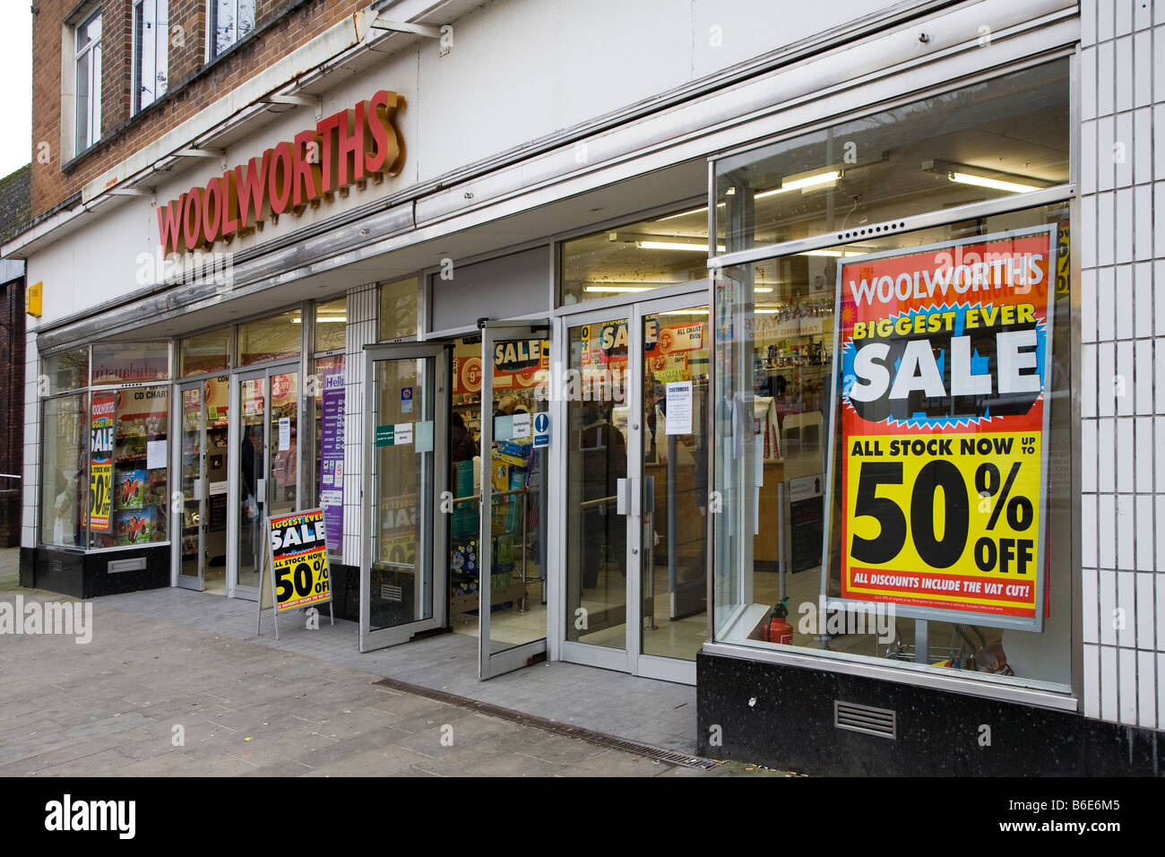 Woolworths shop front closing down sale sign Ebbw Vale Wales UK - Stock Image