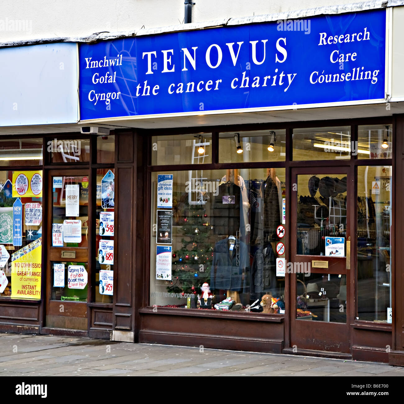 Tenovus cancer charity shop in main shopping street centre of Ebbw Vale Wales UK - Stock Image