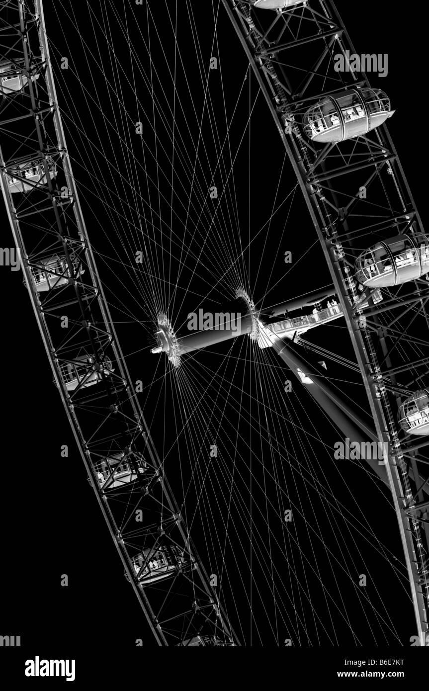 Digital negative of landmark London Eye on the South Bank - Stock Image